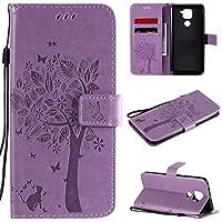 GLXC Redmi Note 9 Tree&Catエンボス加工パターンホルダー&カードスロット&財布&ストラップ付き水平フリップレザーケース (Color : Light Purple)
