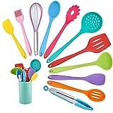 Homikit, set di utensili da cucina, 12 pezzi in silicone, utensili da cucina resistenti al calore, set di posate con supporto per utensili, sano e antiaderente, lavabili in lavastoviglie