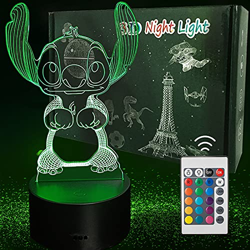 ANVRIL ELF Stitch Night Light, Lilo and Stitch 3D Led Table Lamp Remote Intelligent Remote Control Stitch Table Lamp 16 Color Stitch Light for Christmas Stitch Gifts Holiday Gifts