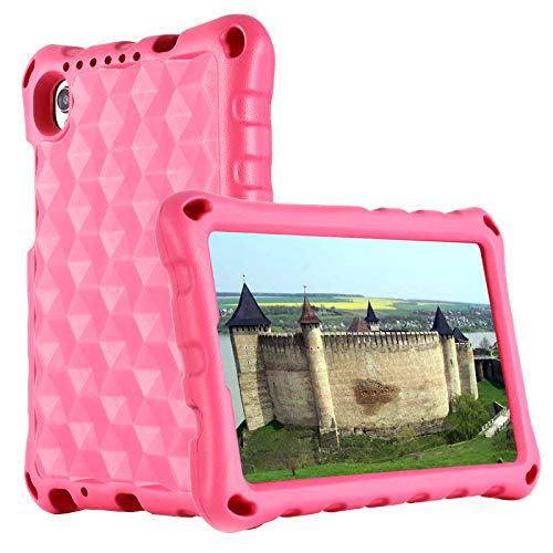 Kavon - Custodia per Lenovo Tab M8 TB-8705F   TB-8505F 8 pollici, antiscivolo, leggera e a prova di urti, con tracolla per tablet per bambini (rosa)