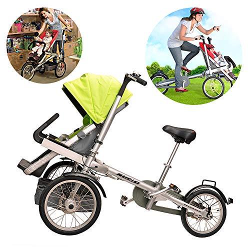 Fly 2 in 1 Kombi-Kinderwagen 3-Rad-Fahrrad Zusammenklappen Eltern-Kind-Auto-Baby-Kind Leicht Zusammenklappbar Faltbarer Anti-Schock-Hochsichtwagen Can Sit-and-Ride Fahrmodus + Kinderwagen-Modus,Grün