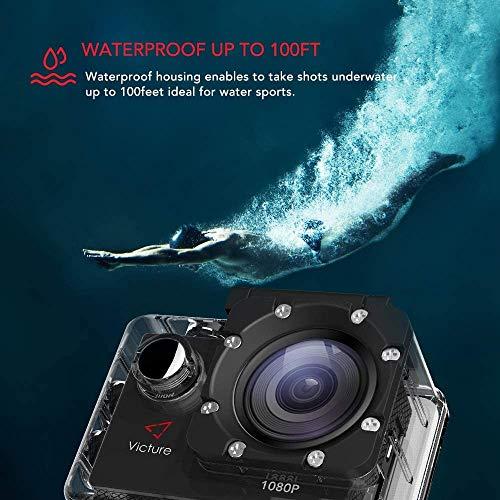 Victure Action Kamera WiFi Full HD 1080P Helmkamera Motorrad Sports Action Camera Cam 2.0 Zoll wasserdichte Unterwasserkamera mit 170° Weitwinkel, 2 Verbesserten Batterien und Zubehör Kits