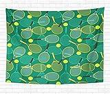 N\A Home Tapisserie Décorative Tenture Murale Activité Colorée Raquettes de Tennis et Balles Vert Revers Championnat Tapisseries Couverture Murale pour Dortoir Salon Chambre