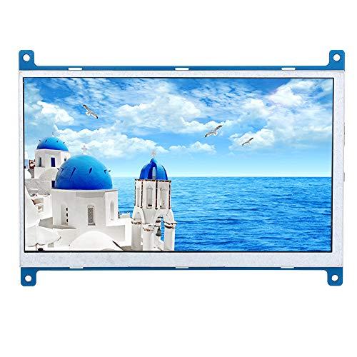 ASHATA 7-inch framboos pi-monitor, 1024 x 600 HD highlight-IPS-led-display met HDMI-ingang voor Raspberry Pi 4B/3B en andere mini-pc's met micro-USB-stroomvoorziening