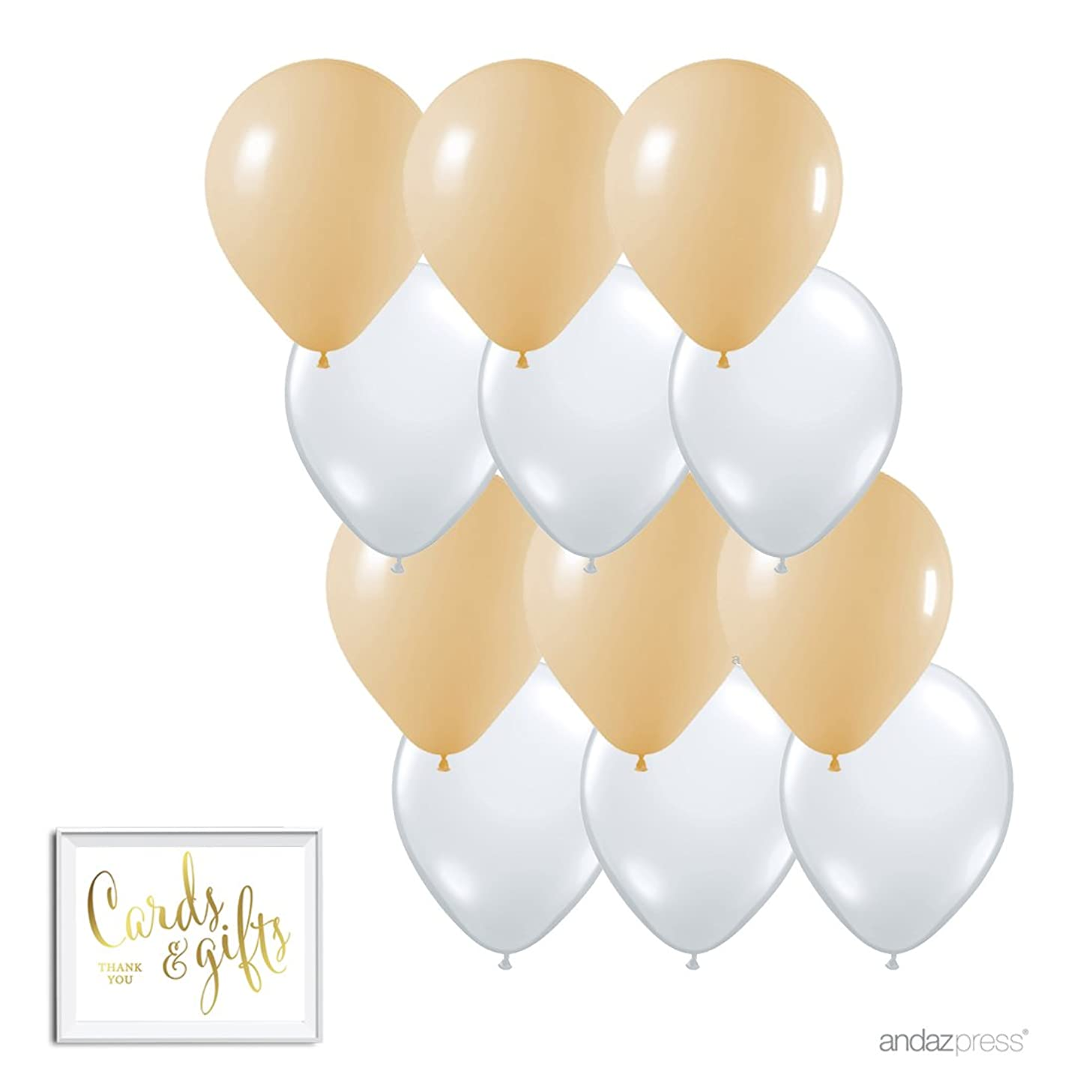 Andaz Press 11-inch Latex Balloon Duo Party Kit with Gold Cards & Gifts Sign, Kraft Brown Tan and White, 12-pk, Burlap Lace Inspired Wedding Bridal Baby Shower Decorations