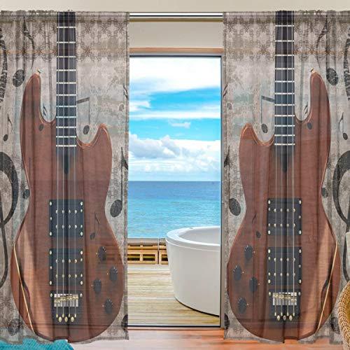 Vinlin Vorhang für Fenster, durchsichtig, Vintage-Musik-Gitarre, Voile, für Schlafzimmer, Wohnzimmer, 2 Paneele 139,7 x 198 cm, Multi, 55x84x2(in)