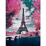 5D-Diamant-Malerei-Set, runder Bohrer, 5D-Rundbohrer, perfekt für Entspannung und Heimdekoration, Eiffelturm, 40 x 50 cm