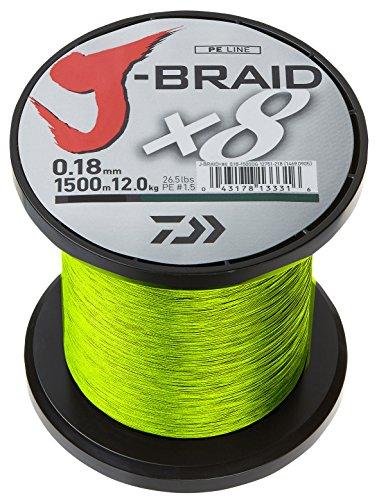 Daiwa J- Braid X8, Chartreuse, 0.18mm, 12.0kg / 26.5lbs, 1500m, Rund Geflochtene Angelschnur, 12750-218