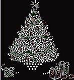 Christmas Tree with Presents Rhinestone Iron on T Shirt Design