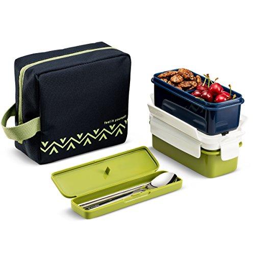 KOMAX Lunchmate Bento Lunch Sac et boîte kit–Sac Isotherme avec 2Biokips récipient hermétique conteneurs (507,5Gram), ustensiles et Baguettes–Plastique sans BPA avec Verrouillage couvercles
