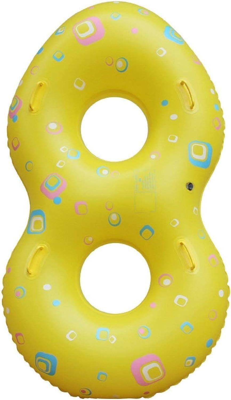 LEMONCOFFEE Im Freien Wasser Aufblasbare Paar Schwimmring Sommer Tragbare Pool Strand Schwimm Pool Dekoration Erwachsene Kinder Paar (gelb) Rettungsring
