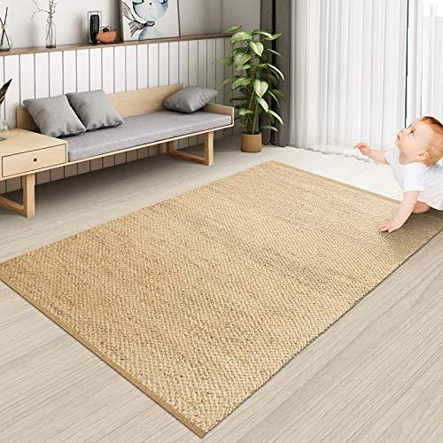 HXPDTDD Rug Teppiche Carpet Tepich Matte Wasserhyazinthe Gras Teppich Wohnzimmer Schlafzimmer Küche Ins Wind Nordic Home Jutematte Handgewebt, 0,8 × 1,2 M, Grundfarbe