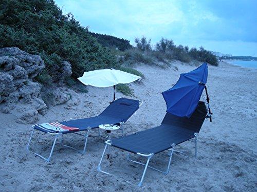 Relax Holly ® Wellness - Set de viaje de estacionamiento (casarano, aluminio, playa, playa, zona de baño, 3 partes, 205 x 71 x 40 cm, con articulación de cuadrícula para zona de la cabeza), color gris antracita ROHRE - carga estable de aprox. 140 kilos + pantalla Holly – Color: azul océano + soporte universal + lámparas de protección contra el viento – VerTRIEB – Holly® Exclusivo Lime sin pantalla – ASIN: B01706O8AY – Nuevo modelo de infrarrojos a partir de la mayoría 2018 – Vídeo: https://vimeo.com/24. 9523750 -