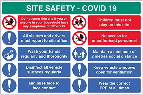 Site Safety COVID19 - Informe a la oficina, lavado las manos, desinfecta superficies, minimiza el contacto cara a cara, política de 2 metros, desgaste EPI