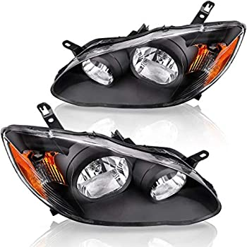 Headlight Assembly Compatible with 2003 2004 2005 2006 2007 2008 Toyota Corolla Black Housing Amber Reflector Driver and Passenger Side