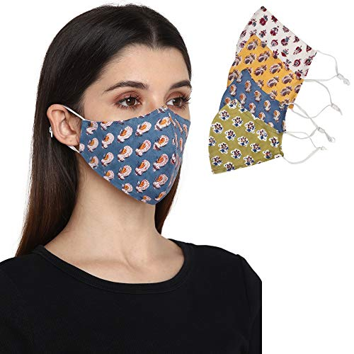Block Studio Reusable Face covering mask for Adult, Hand Block Print Pack of 4, Anti-Dust Cloth Fashion Cotton Mask, Filter Pocket Adjustable face mask for Women, Washable, Ships from USA- Pattern 2