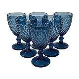 Homevibes Juego Set de 6 Copas De Vino, Copas de Vino con Relieve, Diseño Retro, Cristaleria De Calidad, Capacidad 330ml, Muy Resistentes (Azul)