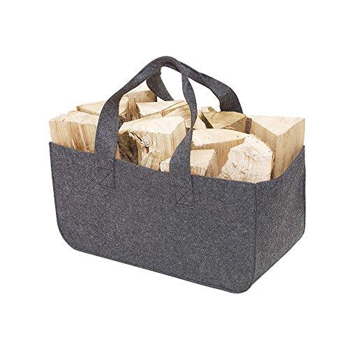 Vertrieb durch Preiswert & Gut Panier en feutre pour bois de cheminée, journaux, etc. 50 x 25 x 25 cm et 295 g Gris