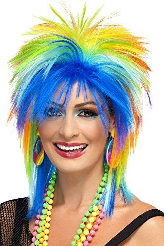 Smiffy'S 41406 Peluca Punk Arco Iris De Los 80, Multicolor