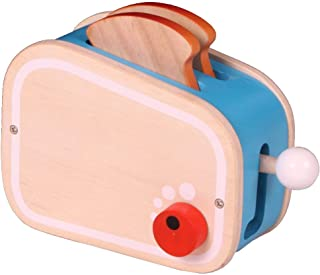 Brainsmith Wooden Toaster Play Set, Non Toxic Kitchen Appliance Toy with Realistic Pop-up Action - Pretend Play Toys for T...