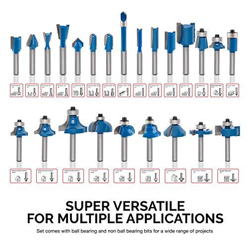 Hiltex 10108 Tungsten Carbide Router Bit Set, 24 Piece   1/4-Inch Shank, Blue
