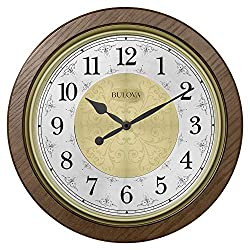 Bulova C4115 Manchester Chiming Wall Clock, Warm Walnut