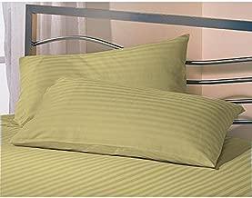 Jaipur Linen Cotton Luxurious Striped 2 Piece Sateen Pillow Cover Set, King Size 20 Inch x 36 Inch-Golden