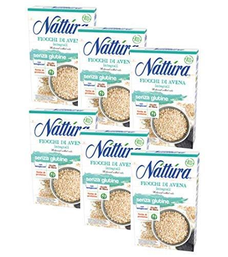 Nattura Fiocchi di Avena Integrali Senza Glutine Ricchi di Fibre Con Betaglucani Fonte di Proteine Vegan OK - 6 x 350 Grammi