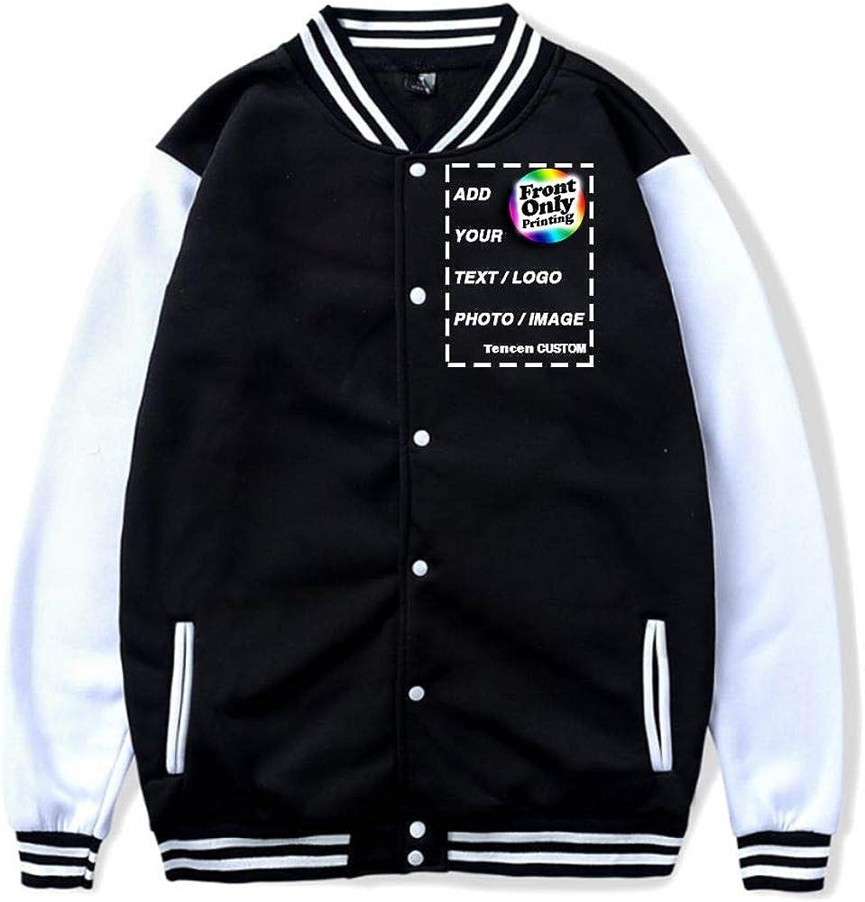 Tencen Custom Varsity Jacket Design Your Own Letterman Bomber Award Teddy Souvenir Jacket 1 Side Front Only Print Jersey