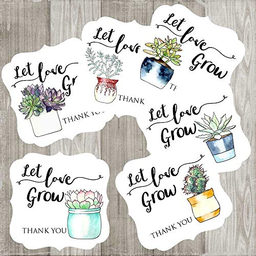 Let Love Grow Succulent Thank You Favor Stickers for Wedding Baby Shower Party - Set of 30