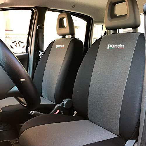 autoSHOP Fodera COPRISEDILE su Misura per Fiat Panda 2003-2004-2005-2006-2007-2008-2009-2010-2011 con Sedile Posteriore Intero (Grigio/Nero)