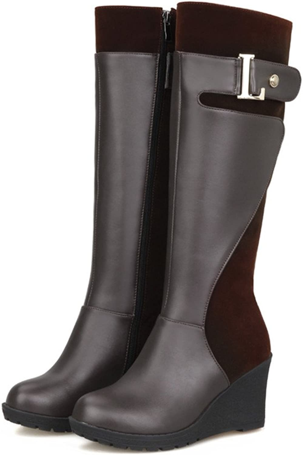 Fashion Heel Womens Round Toe Wedge Heel Knee High Boot