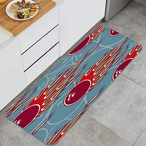 YMWEI Küchenmatte rutschfeste Türmatte nahtloses Muster Bowlingkugel Symbol heiß Waschbare Küchenteppich für Esszimmer, Flur, Wohnzimmer, sinken-120cm x 45cm