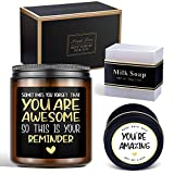 Thank You Gifts for Women Lavender Scented Candle Gift Set with Bath Salts and Handmade Bath Soaps, Funny Birthday Gifts for Women Best Friends Female