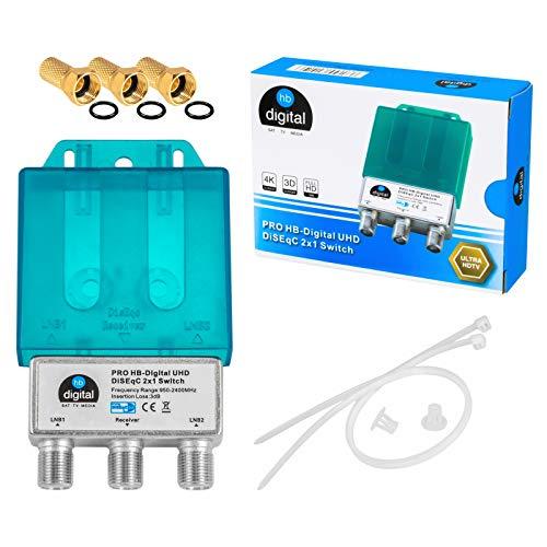1x PRO DiseqC Schalter Switch 2/1 mit Wetterschutzgehäuse HB-DIGITAL 2X SAT LNB 1 x Teilnehmer / Receiver für Full HDTV 3D 4K UHD + 3 x Vergoldete F-Stecker Vergoldet