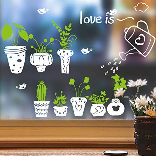 PISKLIU Muursticker Muursticker vaas vaas bloem Natura Bella Finestra Muursticker PVC Decoratie Huis 45 x 60 cm