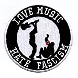 Aufnäher/Bügelbild / Iron on Patch Love Music Hate Fascism