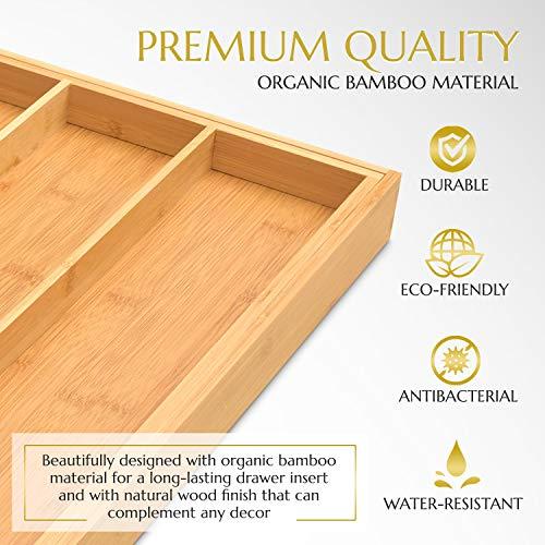 Signature Living Drawer Organizer (3-5 slots) Bamboo Expandable Utensil Drawer Organizer Premium Bamboo for Cutlery, Flatware, Silverware - Drawer Dividers for Easy Storage