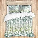 AoLismini Juego de Funda nórdica de algodón Lavado, Algas Marinas océano náutico Azul Verde mar Algas Marinas Ideal Blanca Moderna, 3 Piezas de Ropa de Cama Suave de Lujo, tamaño King