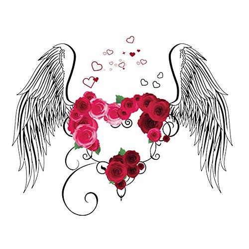 Winhappyhome Roses Amour Ailes Art Stickers Muraux pour Les Enfants Chambre Nursery Salon Café FenêTre Fond Amovible DéCoration Stickers