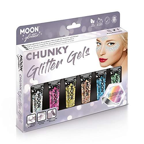 Gel Brillante grueso Holográfico para la Cara y el Cuerpo por Moon Glitter - 12ml - Pintura Facial Brillante - Set de regalo con 6 geles: plata, rosa, dorado, oro rosa, azul y verde