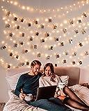 10M 100er Led Lichterkette mit 50 Stücke Klammern für Fotos, USB Lichterkette für Zimmer Deko Fotowand und Geburtstag Party Weihnachten, 8 Beleuchtungsmodi, Warmweiß