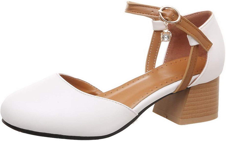 AllhqFashion Women's Solid Microfiber Kitten-Heels Buckle Round-Toe Pumps-shoes,FBUDD011906