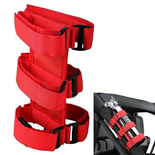 Supporto per estintore antincendio rosso, custodia porta-estintore regolabile , Compatibile con TJ YJ JK CJ Wrangler