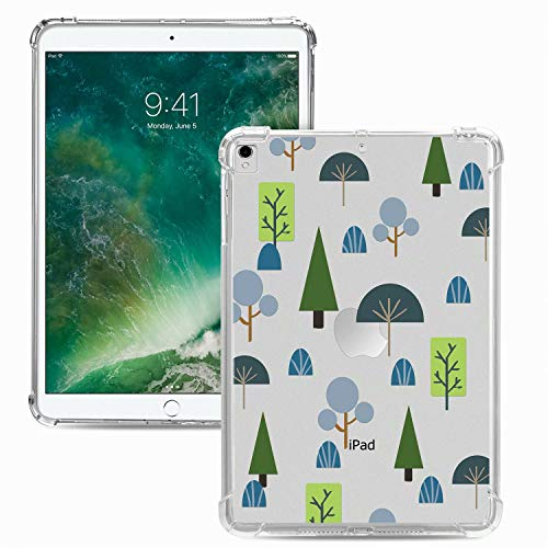 Miagon Weich Dünn Hülle für iPad 10.2 2019/ iPad Pro 10.5/ iPad Air 3,Kreativ Durchsichtig Bunt Muster Clear Leicht TPU Crystal Bumper Schutzhülle Cover mit Airbag Ecke,Baum
