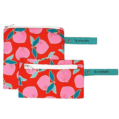 Bolsa reutilizable para sándwiches/bocadillo - Paquete de 2 bolsas de almuerzo lavables de doble capa - Fácil de limpiar - tejido de plástico reciclado   Melocotones