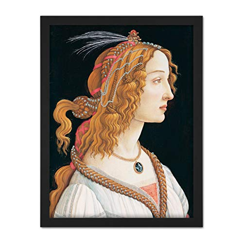 Sandro Botticelli Portrait Young Woman Painting Artwork Framed Wall Art Print 18X24 Inch Arena Retrato Joven Mujer Pintura Pared