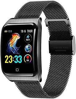 WJFQ Reloj Inteligente SmartWatch Impermeable Hombres rastreador de Ejercicios IP68 con monitores de presión de oxígeno en Sangre del Contador de Pasos for iOS Android (Color : Black Steel Belt)