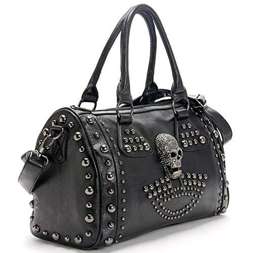 Cayla Mujeres Top manija Hombro Bolsa Personalidad Punk Remache Satchel Tote Monedero Moda Vintage Bag Negro Negro (Skull)