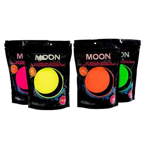 Moon Glow – Poudre pour peinture UV 400 g. Lot de quatre. Peinture fluo en poudre concentrée pour les fêtes et les effets spéciaux. Pour fabriquer jusqu'à 160 litres de peinture
